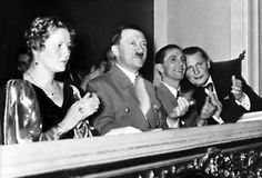 Emmy Göring, Adolf Hitler, Joseph Goebbels and Hermann Göring at a concert on February.10, 1937. Magda Goebbels was suppose to attend but was in hospital and gave birth to the Goebbels' fourth child, Holdine, premature nine days later