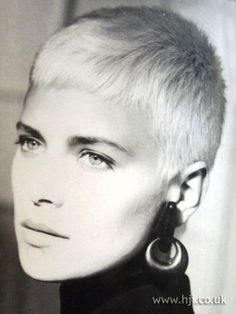 1987 blonde crop hairstyle    Bleached blonde hair was cropped into an urchin style     Hairstyle by: Hanz-Walter Reiche  Salon: Koblenz  Location: Goldwell