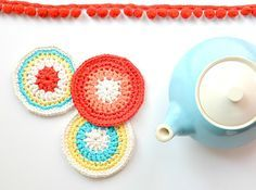 colorful round coasters