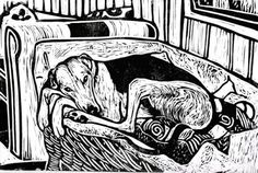 TOO COMFY TO CARE - SIGNED A4 LINO PRINT  LURCHER/GREYHOUND/DOG PICTURE
