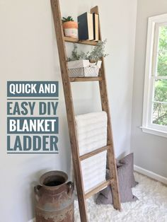 Ugly Home Office Makeover - Part 8(a): The Simple DIY Blanket Ladder :http://www.beautifullifemarket.com/index.php/2017/05/30/ugly-home-office-makeover-part-8a-simple-diy-blanket-ladder/
