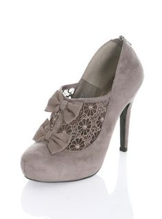 SEAL Grey Bow Lace Heel - View All - Shoes - Miss Selfridge on Wanelo