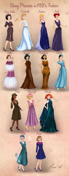 Disney Princesses in 1930s Fashion by BasakTinli
