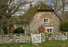 "cottage dear cottage with sweet stone, gate and door. In this cottage I'd play the Beattles, ""When I'm Sixty Four""! Style Cottage, Cute Cottage, Cottage Living, Cottage Homes, Cottage Gardens, Brick Cottage, Country Living, Cottages England, Fairytale Cottage"