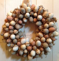 Natural speckled pastel egg, moss & twig wreath, £24.95 www.prillyspantry.co.uk