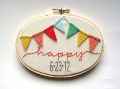 happy bunting embroidery wedding hoop art