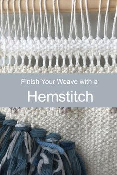 Learn one of my favorite techniques for finishing my weaves. This technique replaces the need to knot the warp threads together of a finished weave. Your weave with look a lot smoother and even. Weaving Loom Diy, Weaving Art, Weaving Textiles, Weaving Patterns, Weaving Wall Hanging, Wall Hangings, Tapestry Loom, Peg Loom, Textile Fiber Art