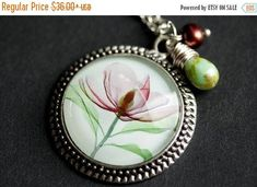 VALENTINE SALE Flower Necklace. Xray Flower Art Pendant with Dark Mauve Fresh Water Pearl and Pale Green Teardrop. Floral Necklace. Handmade by TheTeardropShop from The Teardrop Shop. Find it now at http://ift.tt/2ktuQms!
