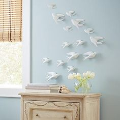 """$79 Set of Five Birds of Flight Wall Art (49059): Two large, one right-facing, one left-facing: 6-1/4""""L x 3""""D x 3""""H, and three small, two right-facing, one left-facing: 4-1/4""""L x 2-1/2""""D x 2-1/2""""H, per set."""