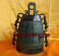 Tibet Bronze Buddhist Dragon Singing bell 18cm