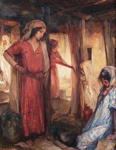 Algérie- Peintre Belge vanJules Van Biesbroeck(1873-1965), huile sur toile , Titre : Jeunes filles à la sources