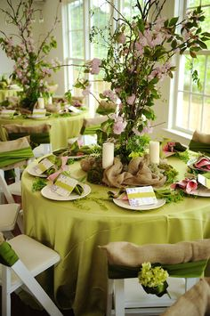 Pretty Spring setting...we offer Lime Green Chartreuse Napkins Garland and Table Overlays for this lovely spring look at .alwayselegant.com & Spring Table Setting with Ma Maison and a DIY Tiered Planter ...