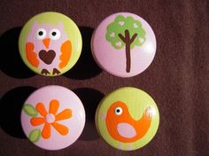 Handpainted Wooden Drawer Pulls  Owl Bird Tree by simplymade, $4.00