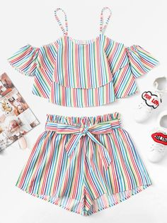 Fashion Kids Baby Girls Stripe Off Shoulder Tops Shorts Pants Outfit Clothes Set Toddler Girl Outfits baby clothes Fashion Girls kids outfit Pants set Shorts Shoulder Stripe Tops Teen Fashion Outfits, Fashion Kids, Kids Outfits, Girl Fashion, Summer Outfits, Summer Shorts, Work Outfits, Fashion Clothes, Pants Outfit