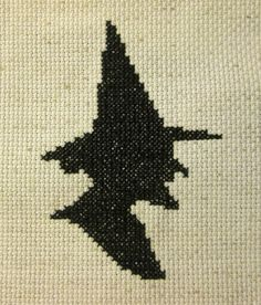 Finished Completed Vintage Witch Cross Stitch Hand Stitched Wicca Halloween Primitive Cameo silhouette