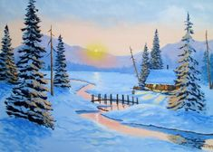 Winter Scene Paintings, Winter Painting, Winter Sunset, Winter Scenery, Pictures To Paint, Cool Pictures, Acrylic Painting Canvas, Canvas Art, Winter Cabin