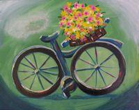 Bicycle BYOB Painting class at www.whimsyartstudio.com