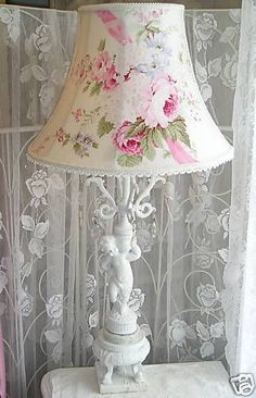 Floor LAMPSHADE FRENCH ROSE fabric lamp shade Lace shabby Victorian Cottage chic