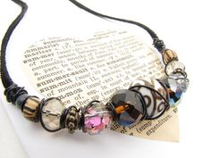 Earthtone Wirewrap Necklace Autumn Boho style with black suede wood ceramic eclectic beads