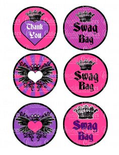 Hey, I found this really awesome Etsy listing at https://www.etsy.com/listing/125356441/rock-star-pink-and-purple-swag-bag-tags