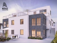 New Villa Visualization  Max + Vray #architecture #exterior #3dmax #vray #decor #home #houseidea Vray, Photorealism, 3d Max, Decoration, Villa, Mansions, Studio, Architecture, House Styles