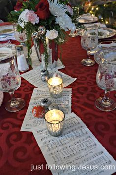 Christmas church music copied as a table runner. Music Centerpieces, Banquet Centerpieces, Banquet Tables, Banquet Ideas, Centrepieces, Ward Christmas Party, Christmas Music, Christmas Holidays, Christmas Crafts