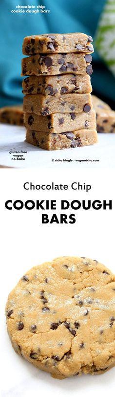 Easy Vegan Chocolate Chip Cookie Dough Bars. Gluten-free   VeganRicha.com