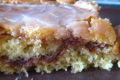 1 box yellow cake mix   8 ounce tub sour cream   4 eggs   3/4 c. vegetable oil   1 c brown sugar   1 Tbsp ground cinnamon   2 c...
