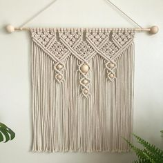 Large Macrame Cotton Wall Hanging / Cotton Copper Macrame Wall