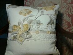 Pretty shabby chic cushion made with Laura Ashley Hydrangea in camomile