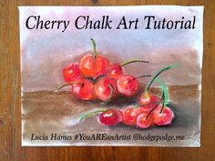 Here we are in February and I thought that a painting of cherries, in honor of President George Washington, would be a great way to pass an afternoon! You will need the following pastel colors: bright red, dark red, brown, black, palest pink, spring green (light green) and orange. Cherries are quite easy to draw. Pick up your dark red and make a large, juicy