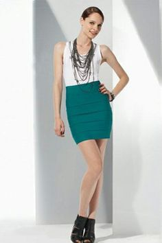 This is Herve Leger Zip Blue Skirt   $338.00
