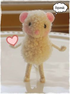 Great tutorial for a sweet pom pom mouse Pom Pom Crafts, Yarn Crafts, Sewing Crafts, Craft Stick Crafts, Diy And Crafts, Arts And Crafts, Craft Tutorials, Craft Projects, Projects To Try