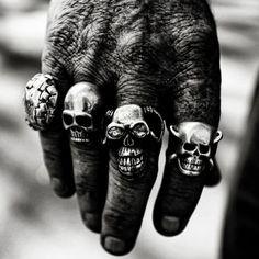 Sick skull rings biker style