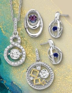 Our Vibrant Jewelry collection is the center of attention with fluttering center stones that twinkle and shine with every move. #QualityGold #VibrantJewelry #JewelryWithMovement #trending #pendants #necklaces #earrings Twinkle Twinkle, Jewelry Collection, Washer Necklace, Stones, Vibrant, Pendants, Necklaces, Jewelry Trends, Body Jewelry