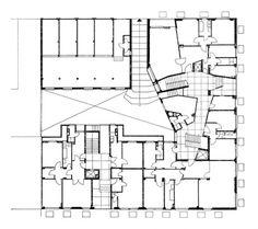 Edificio per abitazioni Via Senofonte, Milano 1952 - 1956 / Mario Asnago, Claudio Vender  Pianta del piano terra