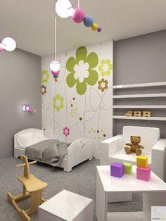 Wnętrza, Pokój dla dziecka - Projekt jasnego, pastelowego pokoju dla dziecka.
