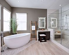 Bathroom. Delightful Modern Home Bathroom Design Ideas. Classy Modern Design Home Bathroom Ideas With White Color Vessel Shape Bath Sink And Shower With Glass Door And Dark Brown Wooden Bathroom Vanity Along With Shower With Glass Door Also Square Shape Wall Mirror And Grey Wall Paint Color Also Recessed Ceiling Lights. Bathroom Ideas. Delightful Modern Home Bathroom Design Ideas
