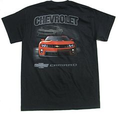 """Joe Blow Chevrolet Red Camaro-small. Seamless double needle 7/8"""" collar. Back graphic and front left chest print t-shirt. Original artwork inspired by the Chevy Camaro street scene. Mediumweight pre-shrunk 5.3 oz fabric. GM officially licensed product."""
