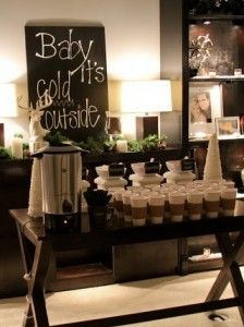 I LOVE this idea! A hot chocolate and coffee bar for the wedding as people enter, so they can warm up before the ceremony.