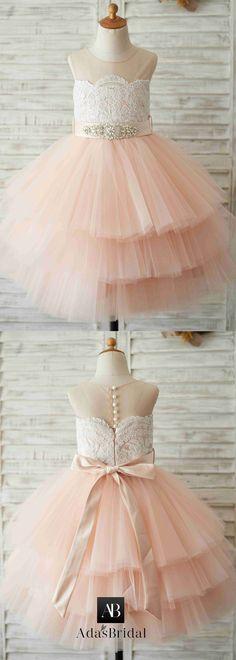 Unique Tulle & Satin Jewel Neckline Floor-length Ball Gown Flower Girl Dresses With Belt & Beadings