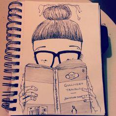 #bookworm #reading #bangs #fringe #girl #frames #pen #sketch #doodle #illustration