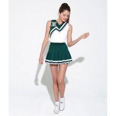 b0105a76a9 Fantasia Adulto Feminina Lider de Torcida Verde e Branca Carnaval Halloween