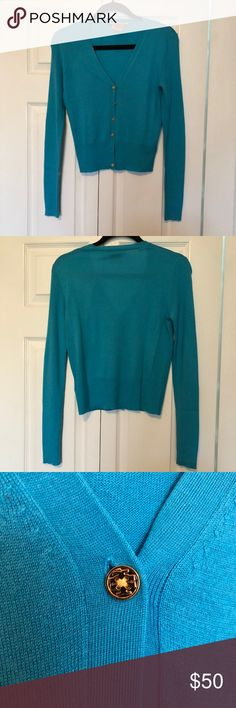 Tory Burch Sweater Aqua colored Tory Burch Sweater lines with gold buttons NEVER WORN Tory Burch Sweaters