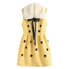 Detachable Fur Collar Sleeveless Yellow Dress  #pariscoming your personal style online store. #outfit #stylist #Styling #streetstyle #fashionblog #fashiondiaries #fashiondiary #WearIt #WhatYouWear ✿ ❀ like it? buy now ❀ ✿