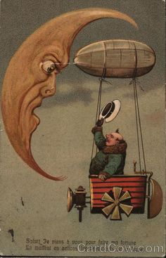 Man in Flying Machine Greeting The Moon Moons Hot Air Balloons