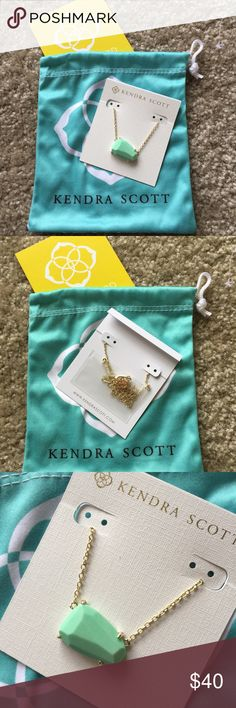 """Kendra Scott Isla necklace in mint and gold NEW Perfect condition brand new never worn Kendra Scott Isla style necklace in gold and mint. New """"with tags"""" except the tag fell off when it was purchased. Comes in original packaging with pouch! Kendra Scott Jewelry Necklaces"""