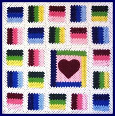 PDF Pattern Crocheted Baby Toddler Afghan or Lapghan, Granny Patchwork Heart Baby Toddler Afghan or Lapghan Blanket Pattern