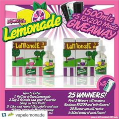 #Repost @vapelemonade  Here is your 2nd Chance to win the full line of @vapelemonade ! We decided to raise the stakes on this one! Not only will you have a chance to win both flavors Pink Lemonade & Blackberry lemonade but the first 5 winners will also win a Wismec Reuleaux RX200 !  Here is how to enter: 1.Follow @vapelemonade 2.Tag 2 friends and your Favorite Shop on the original post on their page @vapelemonade 3.Like and repost this photo and use #vapelemonademodgiveaway  You will be…