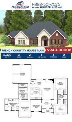 Plan 9940-00006 delivers a darling French Country home with 2,370 sq. ft., 3 bedrooms, 2.5 bathrooms, a guest room, split bedrooms, and a study. #frenchcountry #european #architecture #houseplans #housedesign #homedesign #homedesigns #architecturalplans #newconstruction #floorplans #dreamhome #dreamhouseplans #abhouseplans #besthouseplans #newhome #newhouse #homesweethome #buildingahome #buildahome #residentialplans #residentialhome Best House Plans, Dream House Plans, Floor Plan Drawing, French Country House Plans, Construction Cost, Open Layout, French Countryside, Build Your Dream Home, Sims 4